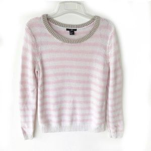 H&M Pink White Striped Scoopneck Sweater small